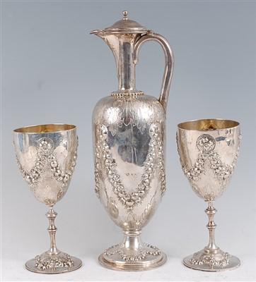 Lot 1111 - A Victorian silver claret jug or wine ewer,...