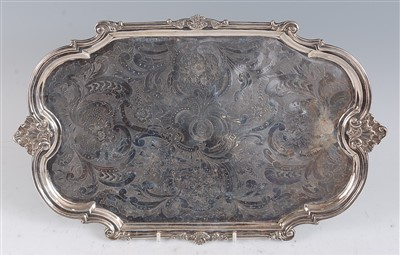 Lot 1112 - A 19th century French silver tray, of shaped...