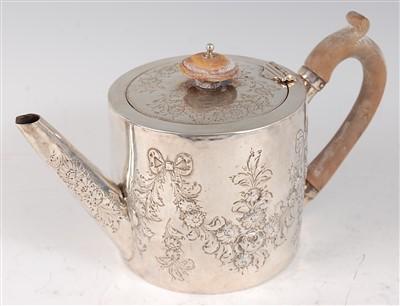 Lot 1115 - A George III silver bachelors teapot, of...
