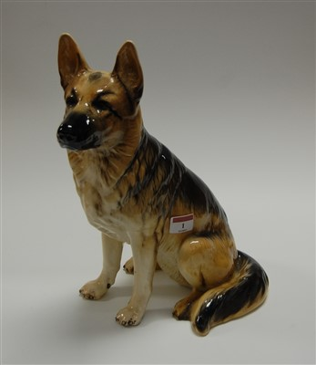 Lot 1-A large Beswick figure of a seated Alsatian,...