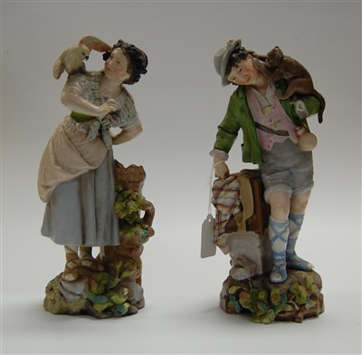 Lot 3-A pair of late 19th century Meissen Dresden...
