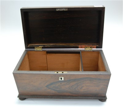 Lot 18-An early Victorian rosewood tea caddy, of...
