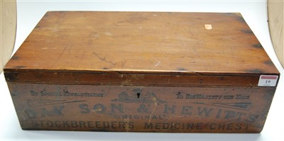 Lot 19-An early 20th century stained pine box, stamped...