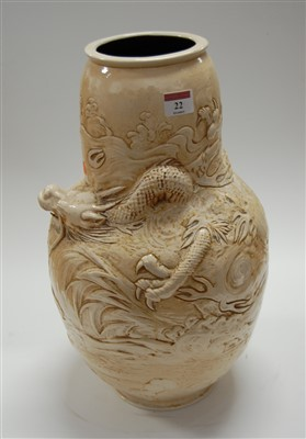 Lot 22-A large Bretby art pottery double-gourd vase, on...