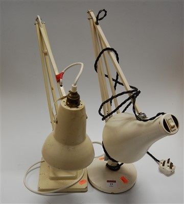 Lot 23-A Herbert Terry cream painted anglepoise desk...