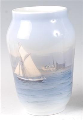 Lot 1-A Royal Copenhagen porcelain vase, decorated with ...