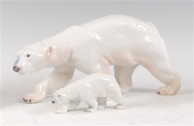 Lot 13-Two Royal Copenhagen porcelain models of a Polar...