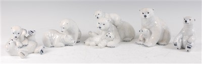 Lot 17-Five Royal Copenhagen porcelain models of Polar...