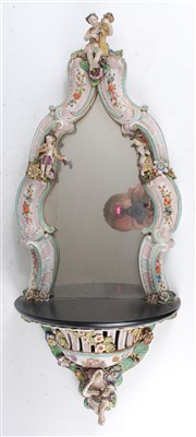 Lot 2025-A 19th century German porcelain wall mirror,...