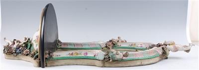 Lot 1006-A 19th century German porcelain wall mirror,...