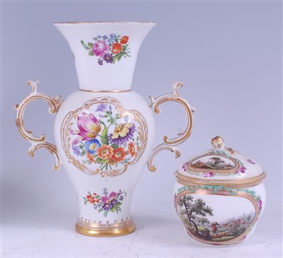 Lot 1008-A 19th century Meissen porcelain twin handled...