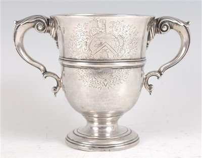 Lot 1063 - A George II Irish silver loving cup, having...