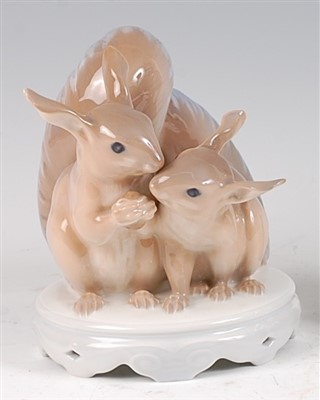 Lot 58 - A Royal Copenhagen porcelain model of two long-...