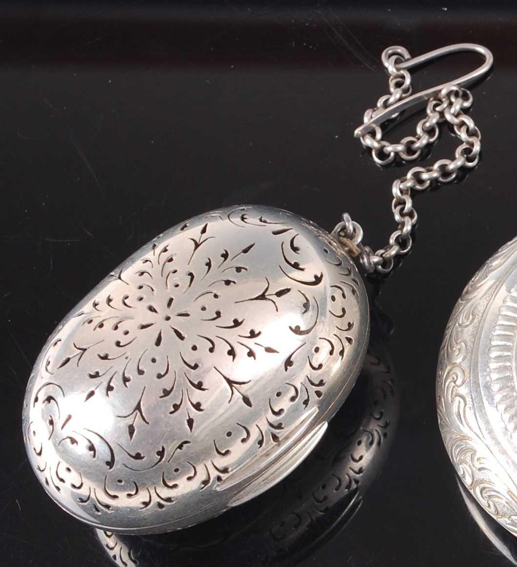 Lot 1130-A Victorian silver pomander, of pierced oval...