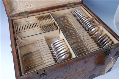 Lot 1144 - A George IV silver part cutlery suite in...