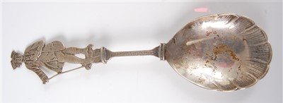 Lot 1151-A late 19th century Dutch silver spoon, having...