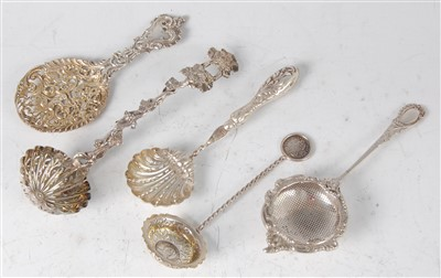 Lot 1152 - A late Victorian silver sifting spoon, the...
