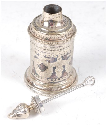 Lot 1159-A circa 1900 continental white metal jar and...