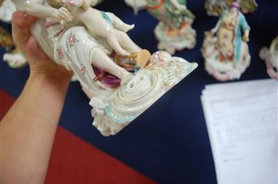 Lot 1022-A Derby porcelain bocage candle-holder figure of...