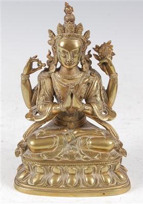 Lot 1327 - A gilt bronze figure of the Tibetan goddess...