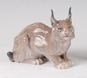 Lot 94 - A Royal Copenhagen porcelain model of Lynx,...