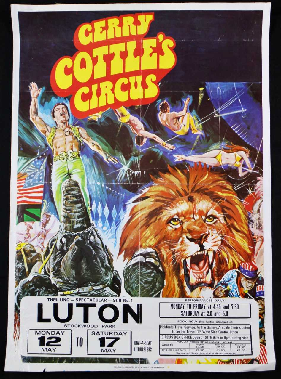 Lot 1-1970's circus posters; Gerry Cottle, and Austen...