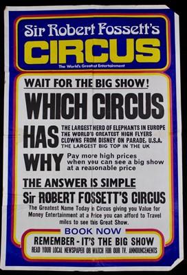 Lot 8-Sir Robert Fossett's circus posters, 1970's, 76cm ...