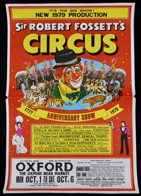 Lot 12-Sir Robert Fossett's circus posters, 1970's, one...