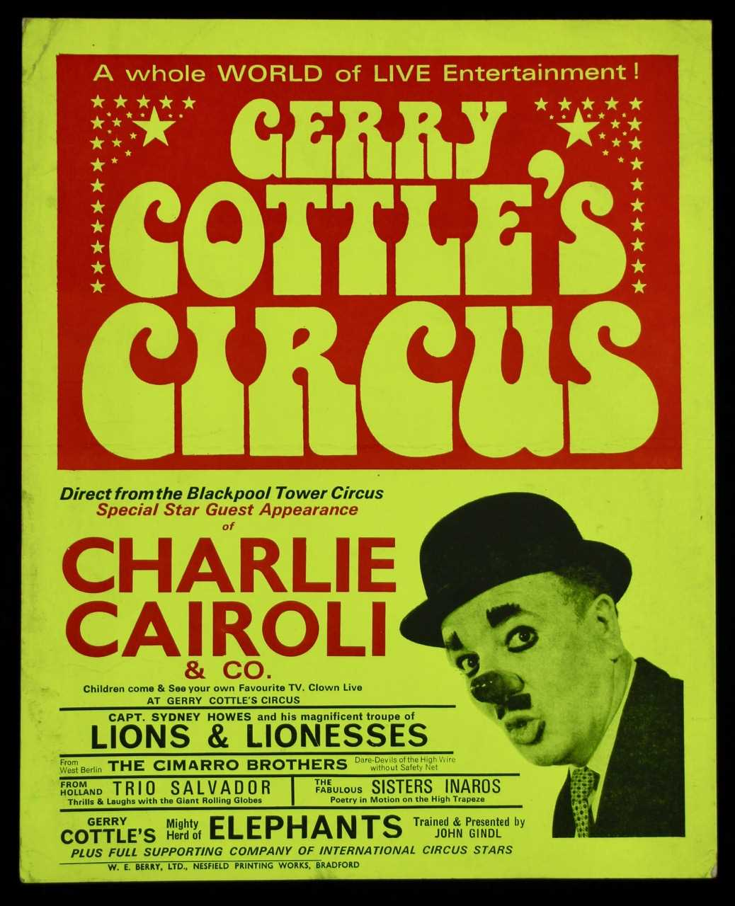 Lot 17-Gerry Cottle's circus poster, 1970's starring...