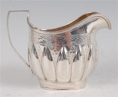 Lot 1095 - A George IV silver cream jug, of helmet form,...