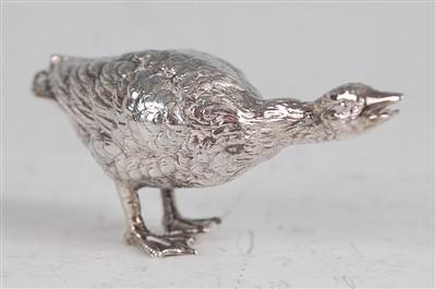 Lot 1098 - A circa 1900 continental silver goose,...