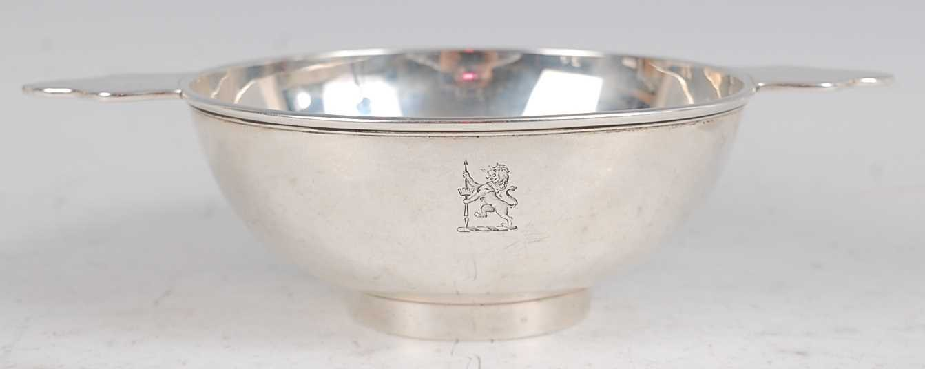 Lot 1168-A late Victorian silver quaich, having engraved...