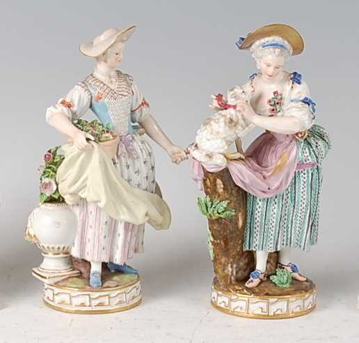 Lot 1010-A near-pair of late 19th century Meissen...