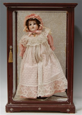 Lot 2001-A Heinrich Handwerck bisque head doll, having...