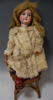 Lot 2002-A large Armand Marseille bisque head doll, having ...