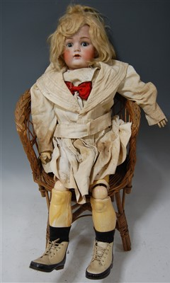Lot 2013-A Christian Friedrich Kling bisque head doll,...