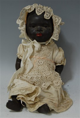 Lot 2037-A Heubach & Köppelsdorf bisque head black doll,...