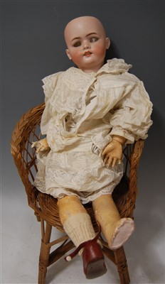 Lot 2045-A Simon & Halbig bisque head doll, lacking eyes,...