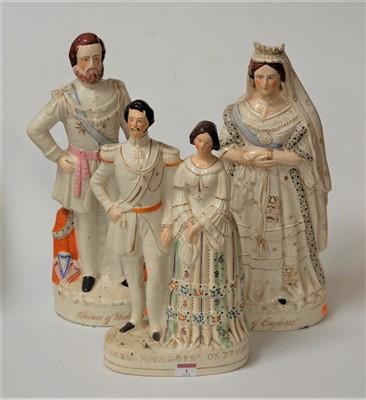 Lot 1-A Victorian Staffordshire figure group Princess...