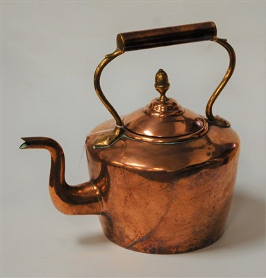 Lot 9-A Victorian copper and brass range kettle, 30cm