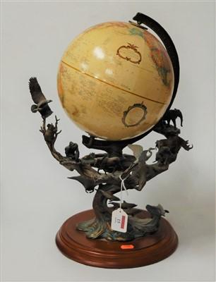 Lot 15-A Franklin Mint terrestrial globe on a sculpted...