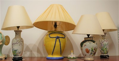 Lot 16-A pair of Chinese porcelain table lamps, each...