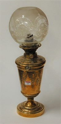 Lot 19-A late Victorian brass oil lamp having a...