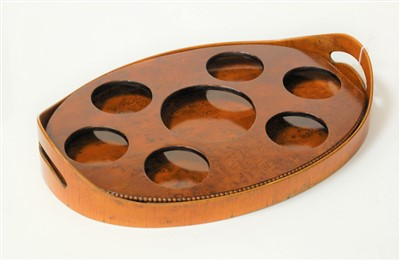 Lot 20-A Burr yew? galleried oval drinks tray with...