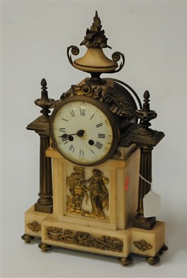Lot 23-A mid 19th century gilt metal and marble mantel...