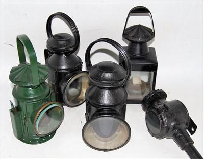 Lot 25-Three railway hand lamps, all complete with...