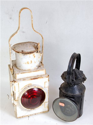 Lot 15-Railwayana lamp group to include a BR Midland...