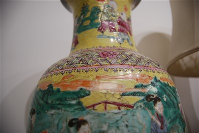 Lot 2-A Chinese Republic yellow ground floor vase, of...