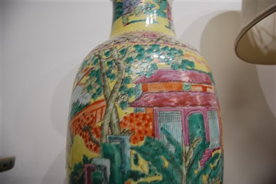 Lot 2-A Chinese Republic yellow ground floor vase,...