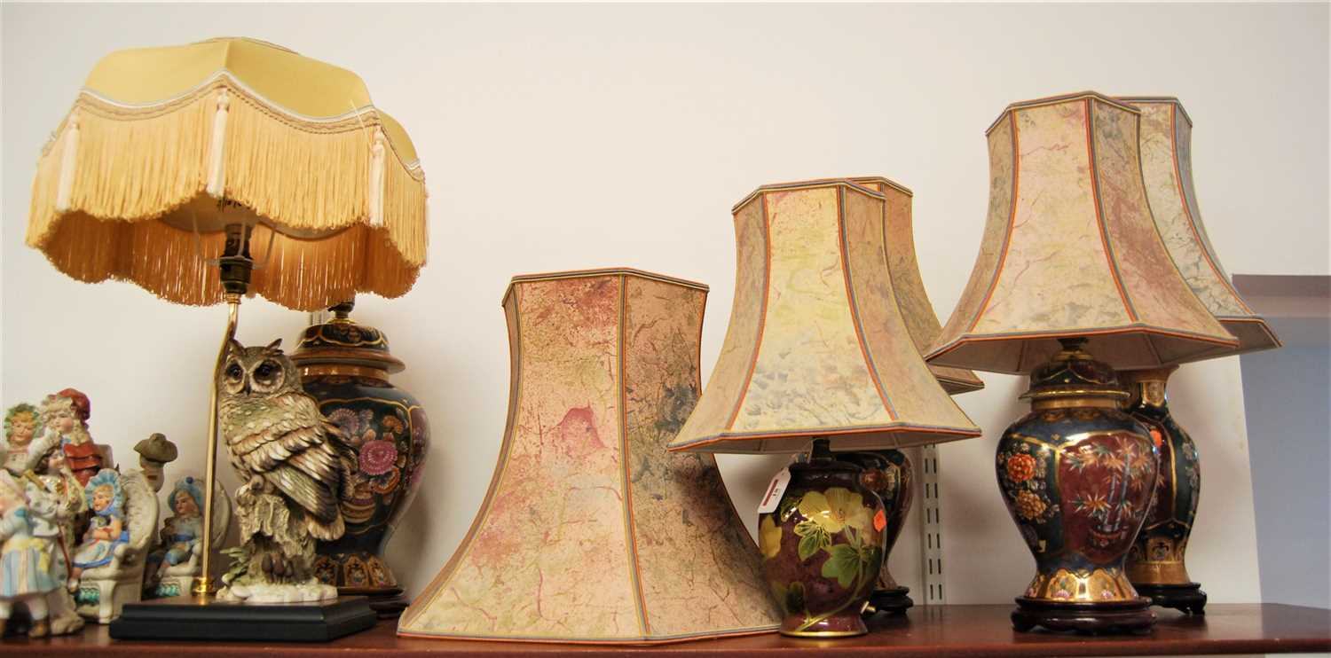 Lot 18-A pair of modern ceramic table lamps each of...